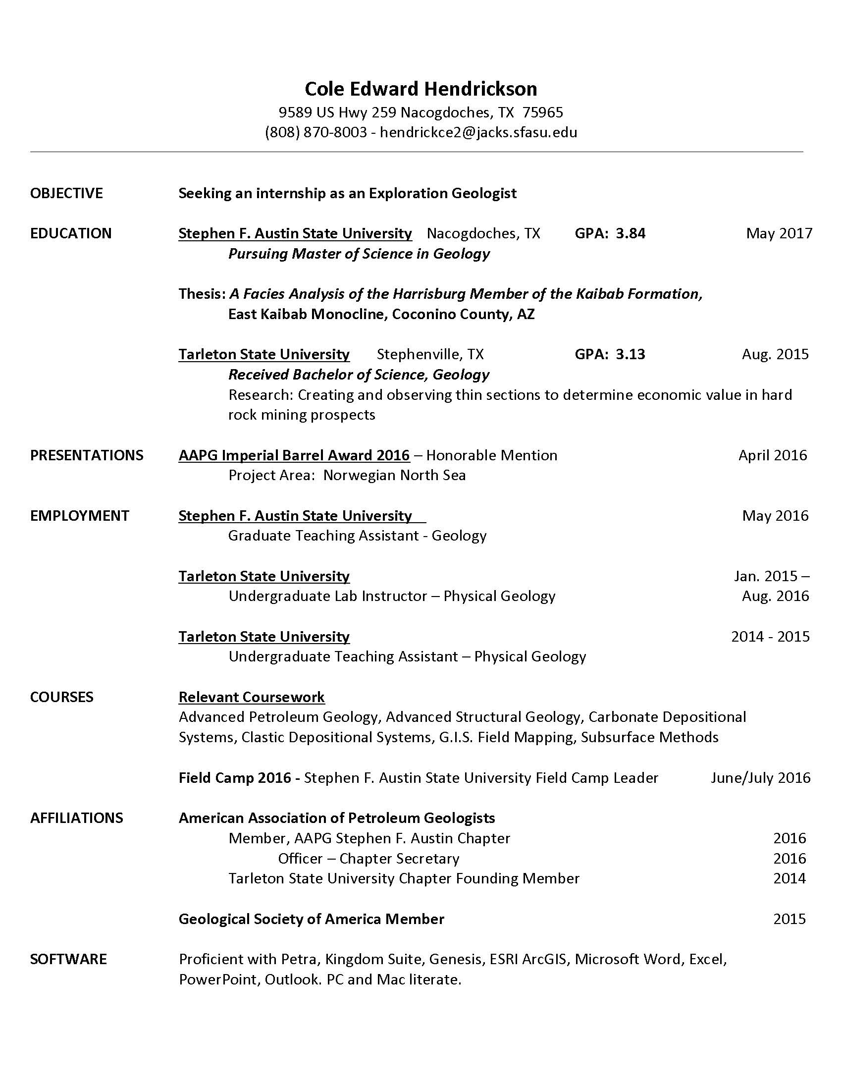 cover letter field engineer petroleum geologist resume vosvete resume cole hendrickson - Premier Field Engineer Sample Resume